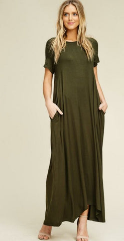 Loose Long Olive Maxi With Pockets