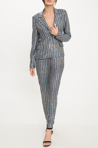 Metallic Pants Suit Set