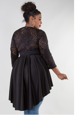Black High Low Lace Peplum Top