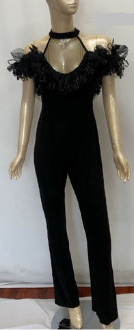 Black Straight Leg Jumper With Mesh Top