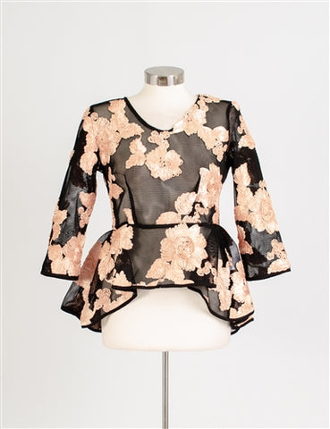 Black Mesh  Floral Applique Top