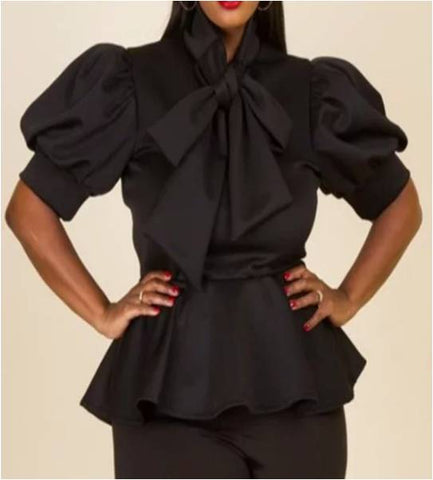 Plus Black Peplum Top With Bow-Tie
