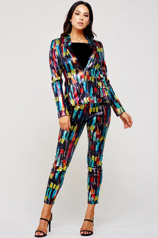 Mulit-Colored Sequin Pants Suit