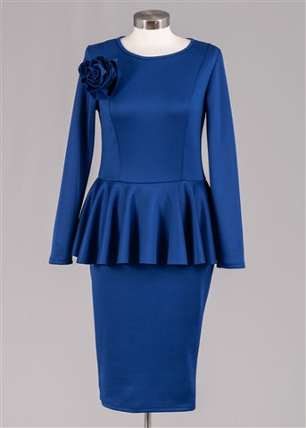 Blue Peplum Dress With Flower