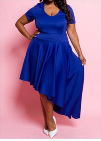Blue Fit and Flare Dress - Plus