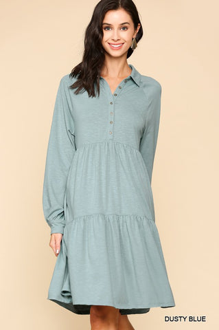 Blue Long Sleeve Baby Doll Dress