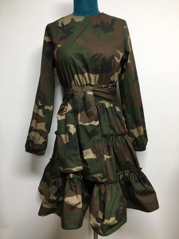 Camo Fit and Flare Dress With Belt