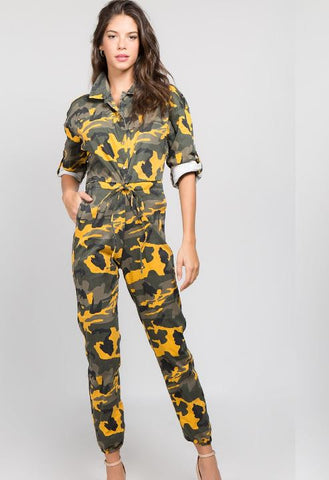 Yellow Camo Jumpsuit With Drawstring Waistband