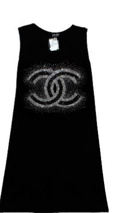 Black Rhinestone Tank Dress - CC