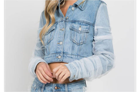 Denim Jacket With Tulle Sleeve