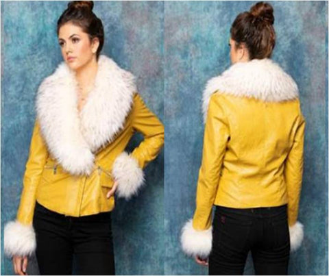 Mustard Faux Leather Biker Jacket With Removable Faux Fur
