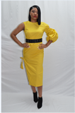 Mustard One Sleeve Dress