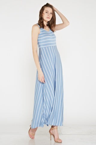 Baby Blue & White Empire Waist Maxi - Plus