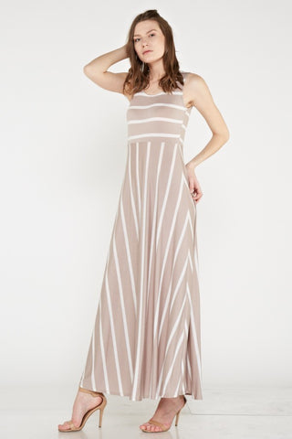 Taupe & White Empire Waist Maxi