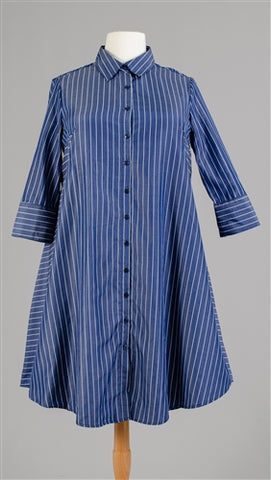 Denim Pinstripe Shirt -Dress