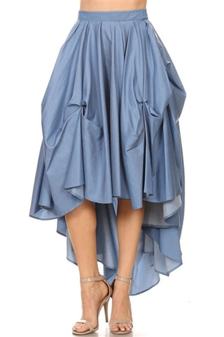 Denim High Low Layered Skirt