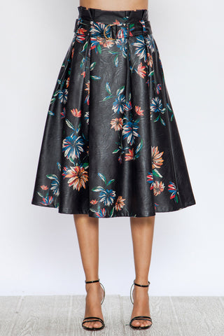 Faux Leather Black Floral Sack Skirt
