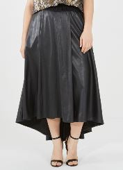 Black High Low Faux Leather Skirt