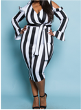 Black and White Striped Plus Cold Shoulder Dress - 30% OFF