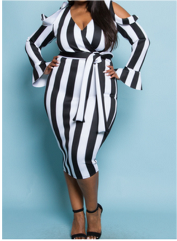 Black and White Striped Plus Cold Shoulder Dress