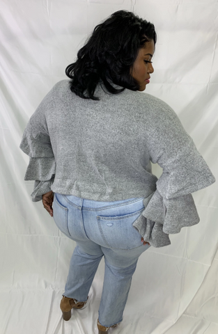 Gray Sweater With Layered Bell Sleeves