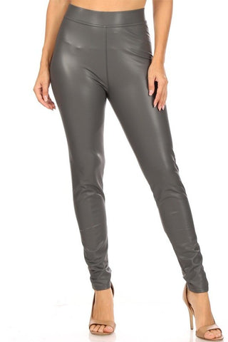 Gray Faux Leather Leggings