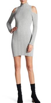 Light Gray Ribbed Cold Shoulder Sweater Dress