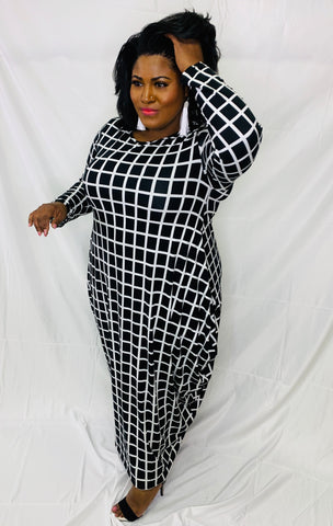 Black and White Harem Dress With Checker Pattern