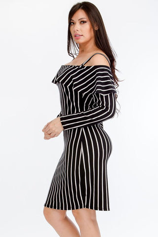 Black Stripe Bodycon Plus Dress