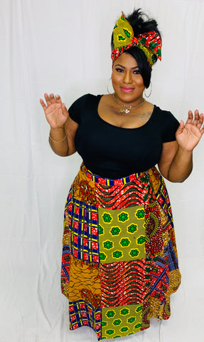 African Skirt & Head Scarf - One Size Fits Most