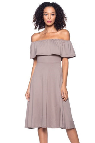 Taupe Off Shoulder Fit and Flare Dress