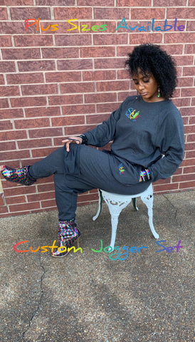 3 Piece Embroidered Jogger Set-Plus