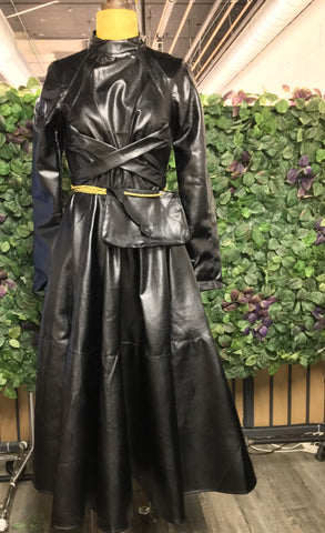 Black Faux Leather Dress With Purse