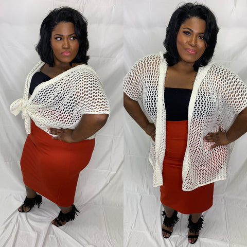 Rust High Waisted Pencil Skirt