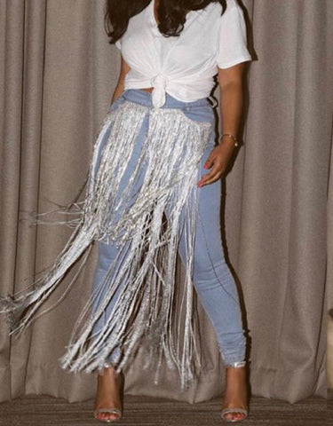 Denim Pants With White Front Fringe