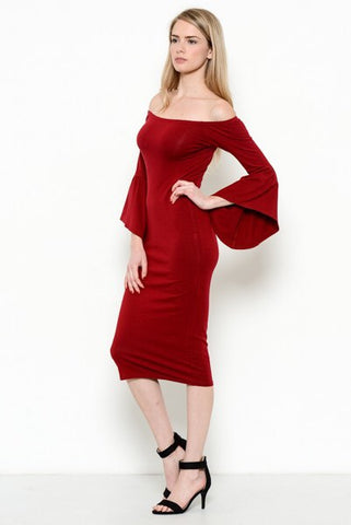 Wine Off Shoulder Bell Sleeve Dress