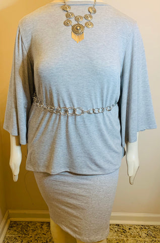 Heather Grey Bell Sleeve Pencil Skirt Set