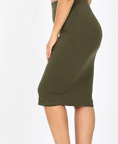 Plus dark Olive Pencil Skirt
