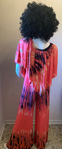 Coral Tie-Dye One Size Jumpsuit