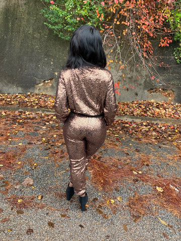 Bronze Sequin Jogger Set