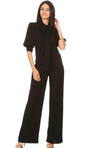 Black Bow-Tie Jumpsuit