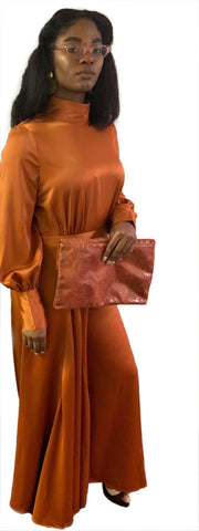 Burnt Orange Satin Mock Neck Jumpsuit