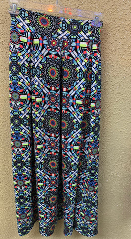 High Waisted Aztec Print Maxi Skirt
