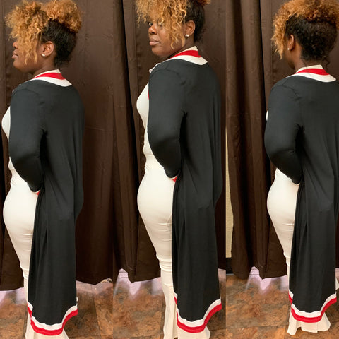 Black, Red, White Cardigan Set