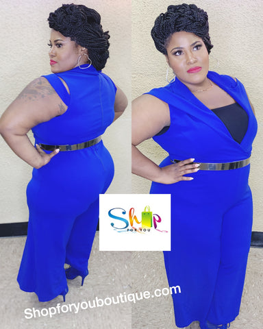 Royal Blue Jumpsuit With Decorative Shoulder Strap