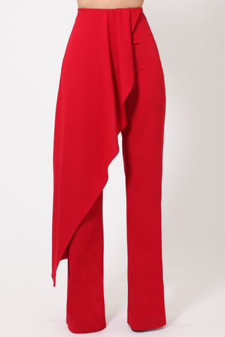 Red Pants With Skirt Attachment