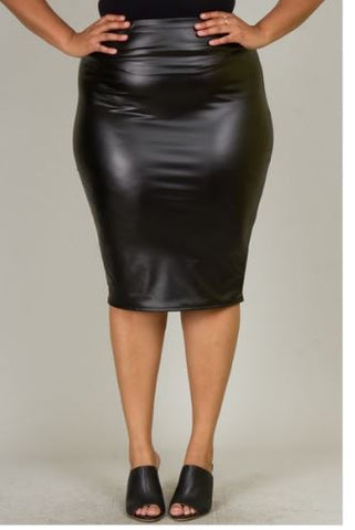 Plus black leather pencil skirt