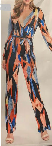 Orange/Blue Abstract Jumpsuit
