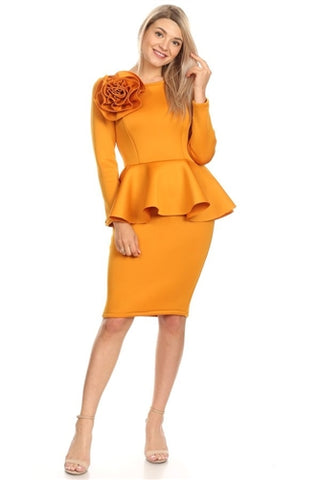 Mustard Peplum Dress With Flower