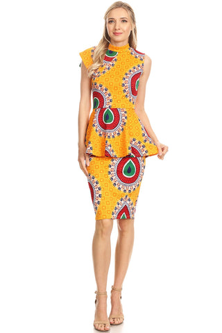 Mustard African Peplum Dress